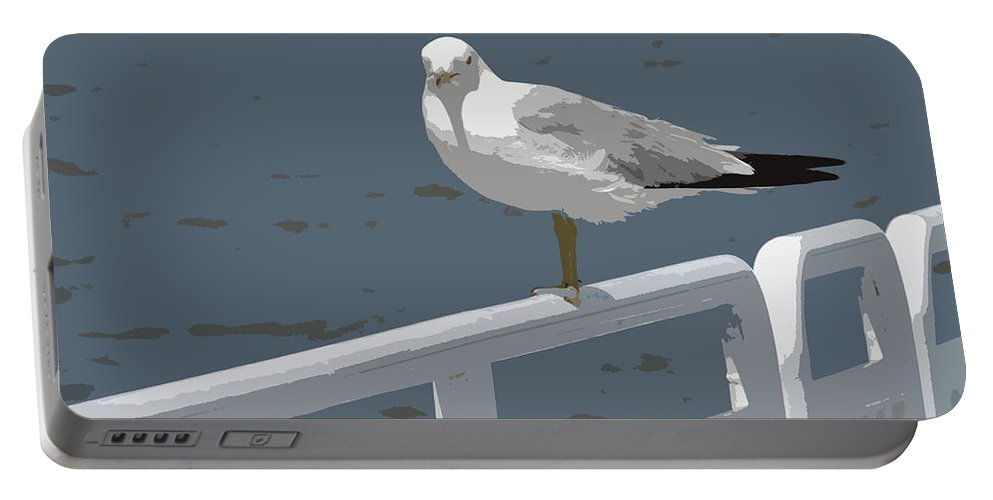 Seagull Portable Battery Charger featuring the photograph Seagull On The Rail by Michelle Calkins
