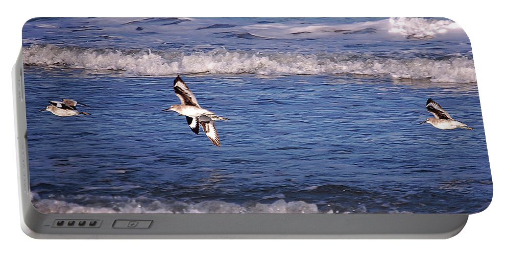 Seagulls Portable Battery Charger featuring the digital art Seagulls Above The Seashore by DigiArt Diaries by Vicky B Fuller