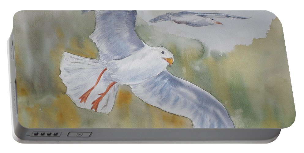 Souring Portable Battery Charger featuring the painting Seagulls Over Glacier Bay by Vicki Housel