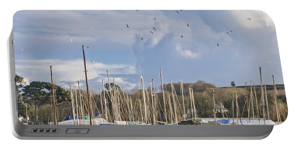Seagulls Portable Battery Charger featuring the photograph Seagulls Over Mylor Creek Boatyard by Terri Waters