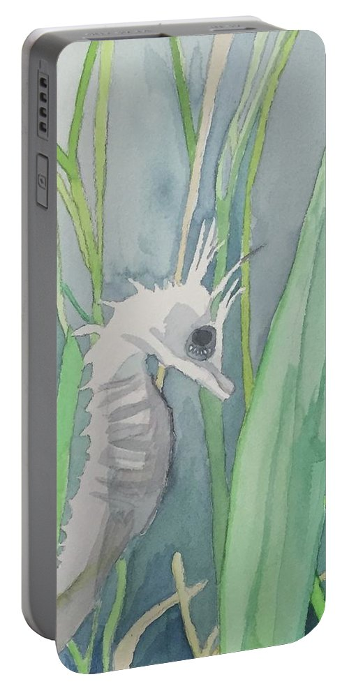 Sea Portable Battery Charger featuring the painting Seahorse by Alice Singer