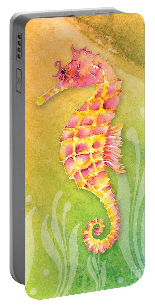 Beach Art Portable Battery Charger featuring the painting Seahorse Pink by Amy Kirkpatrick