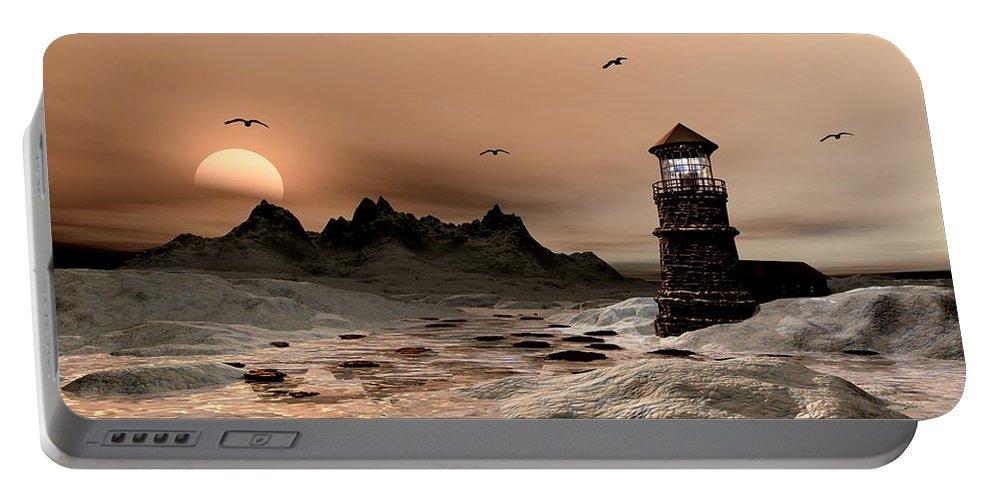 Seascape A Frozen Morning Portable Battery Charger featuring the digital art Seascape A Frozen Morning by John Junek