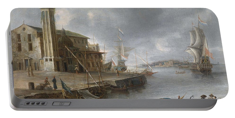 Jan Abrahamsz. Beerstraaten (1622 - 1666) Portable Battery Charger featuring the painting Seascape by MotionAge Designs