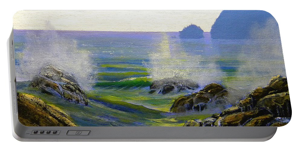 Seascape Portable Battery Charger featuring the painting Seascape Study 7 by Frank Wilson