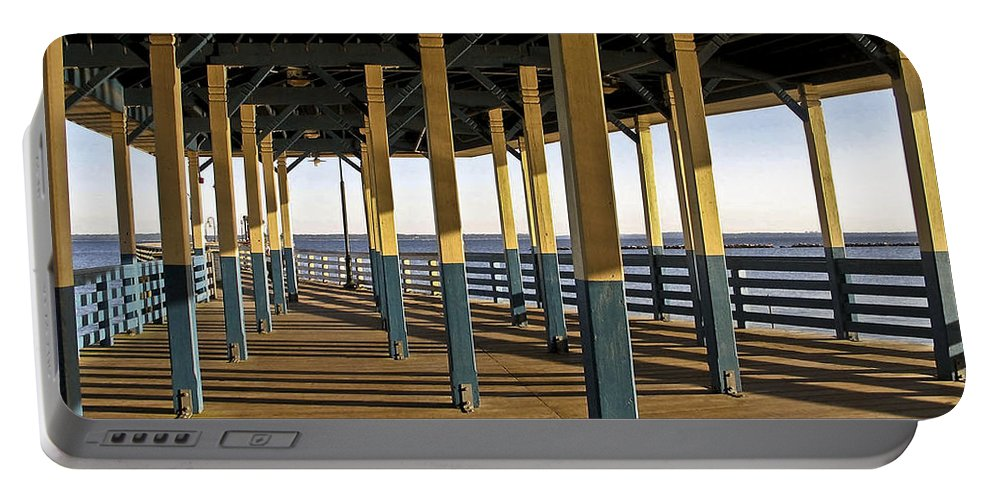 Seascape Portable Battery Charger featuring the photograph Seascape Walk On The Pier by Carol F Austin