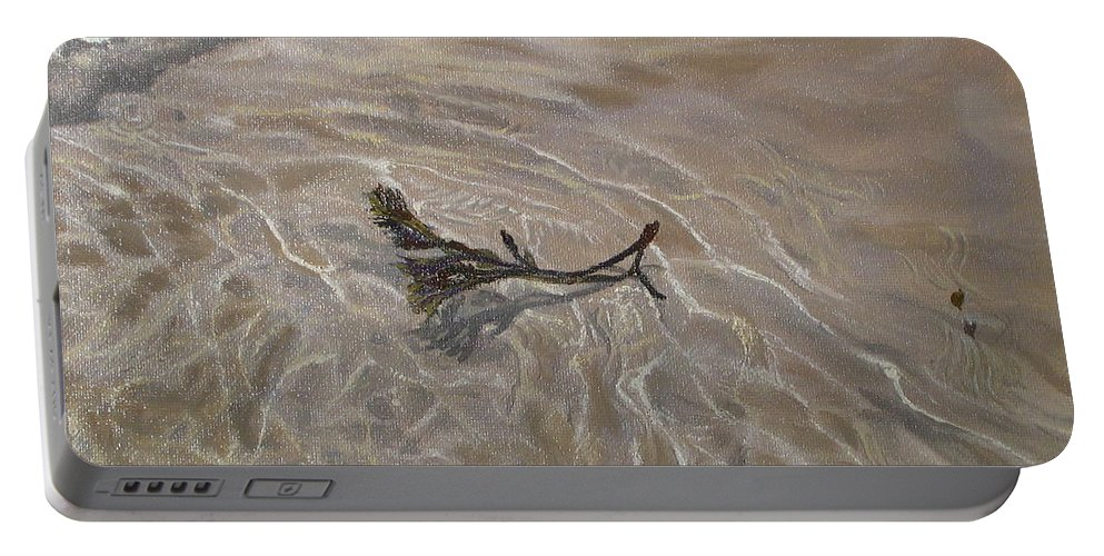 Seascape Portable Battery Charger featuring the painting Seashore Reflections by Lea Novak