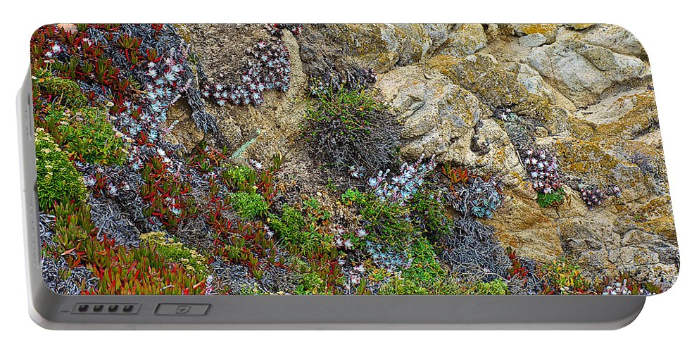Seaside Cliff Garden In Point Lobos State Reserve Near Monterey Portable Battery Charger featuring the photograph Seaside Cliff Garden In Point Lobos State Reserve Near Monterey-california by Ruth Hager