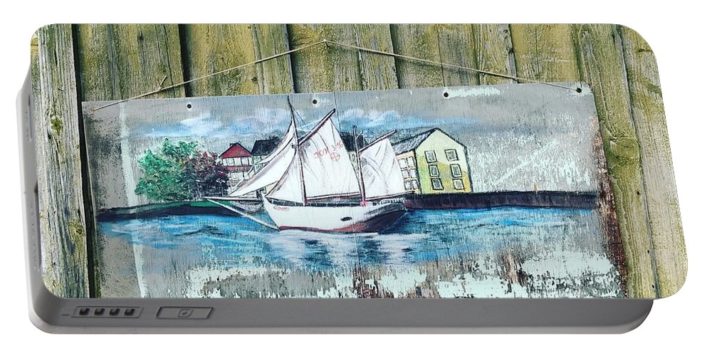 Ship Portable Battery Charger featuring the painting Seaside by Monika Hale
