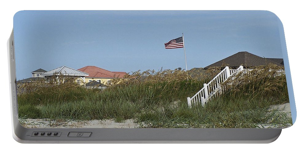 Ocean Portable Battery Charger featuring the photograph Seaside Patriotism by Teresa Mucha