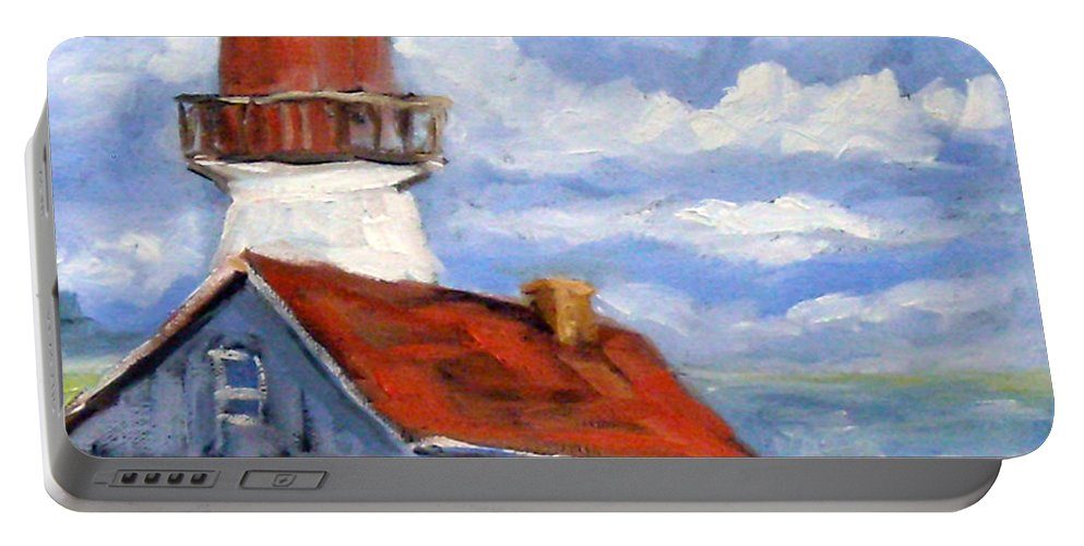 Art Portable Battery Charger featuring the painting Seaside Sentinal by Richard T Pranke