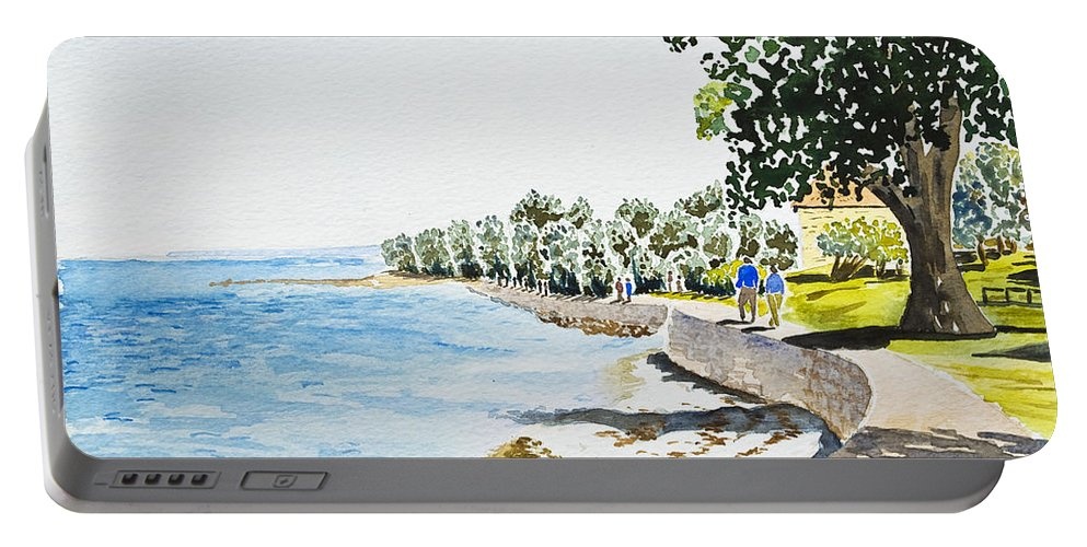 Beach Portable Battery Charger featuring the painting Seaside Town by Svetlana Sewell