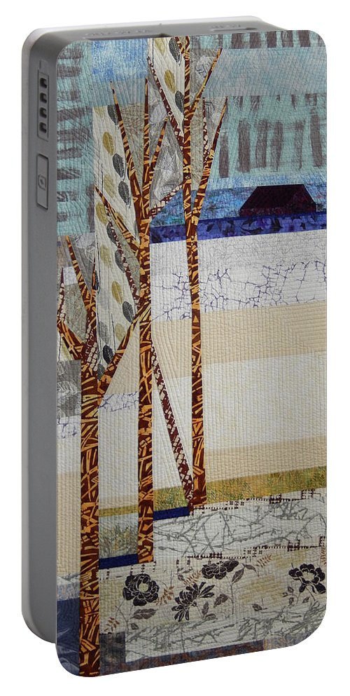 Landscape Portable Battery Charger featuring the tapestry - textile Seasonal Remembrance by Linda Beach