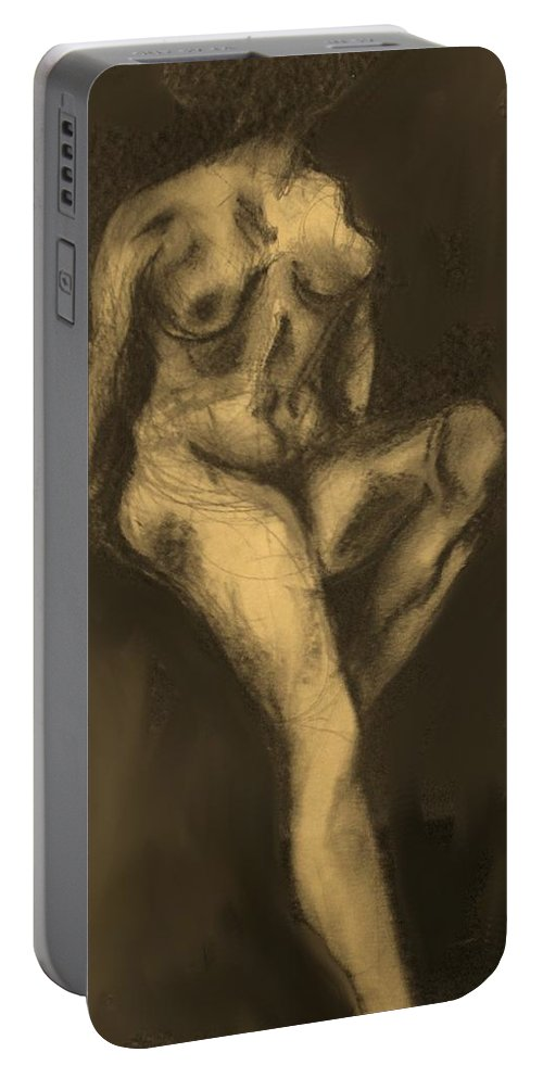 Nude Portable Battery Charger featuring the drawing Seated Pose by Ian MacDonald