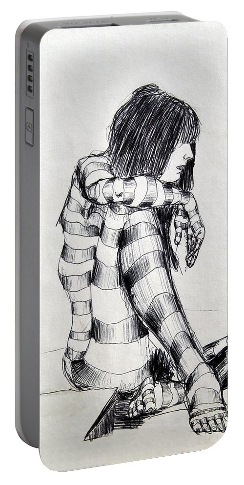 Ink Drawing Portable Battery Charger featuring the drawing Seated Striped Nude by Ron Bissett