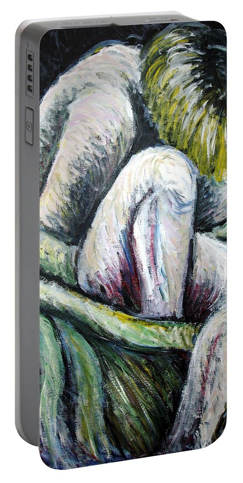 Woman Portable Battery Charger featuring the painting Seated Woman Abstract by Nancy Mueller