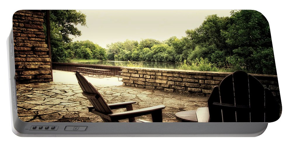 Surreal Portable Battery Charger featuring the photograph Seating For Two By The Creek by Thomas Woolworth