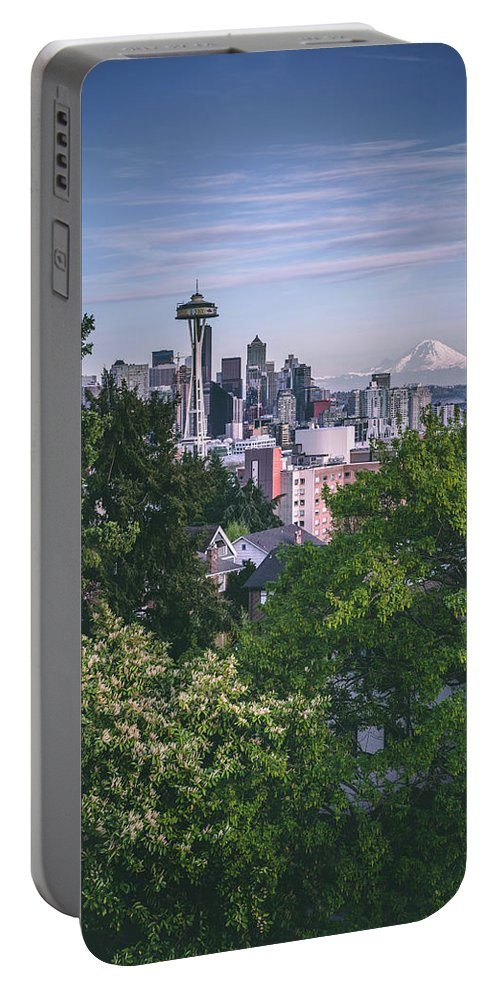 Seattle Portable Battery Charger featuring the photograph Seattle And Mt. Rainier Vertical by Manuela Durson