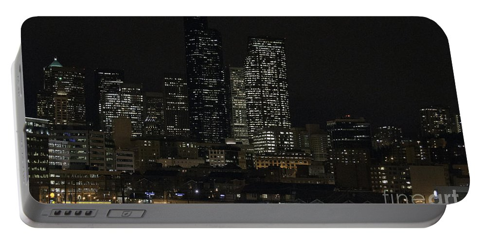 Art Portable Battery Charger featuring the photograph Seattle At Night by Clayton Bruster