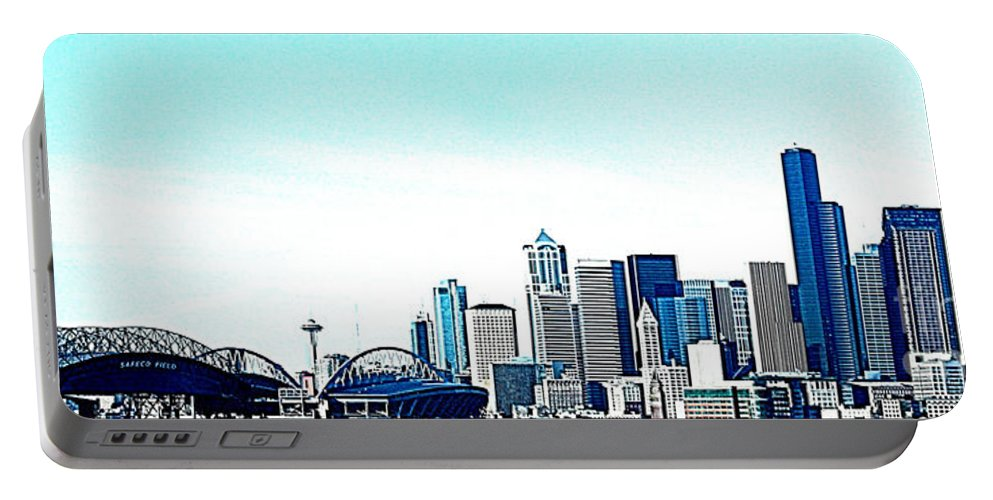 Seattle Portable Battery Charger featuring the photograph Seattle Blue by Nick Gustafson