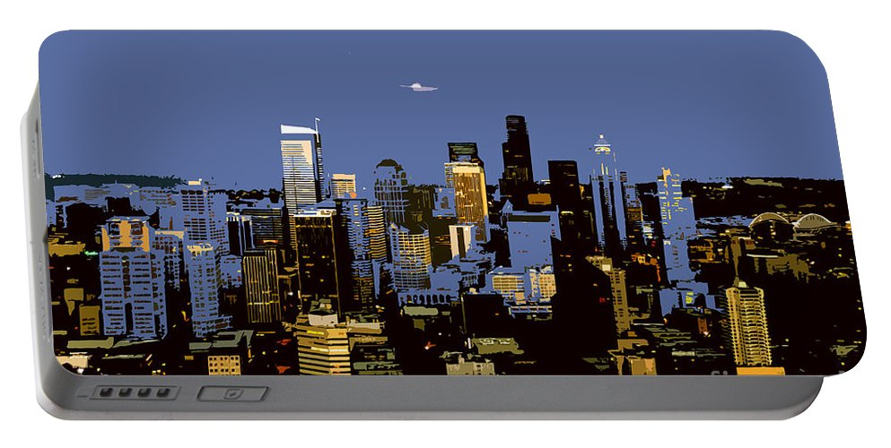 Seattle Washington Portable Battery Charger featuring the painting Seattle City by David Lee Thompson