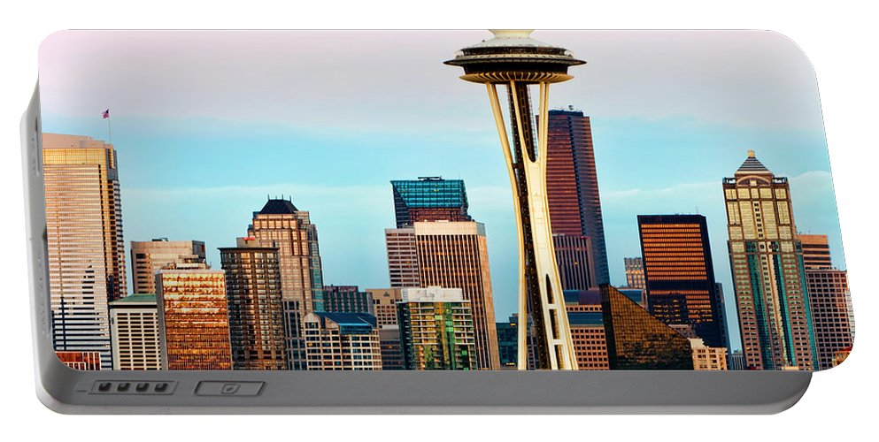 Seattle Portable Battery Charger featuring the digital art Seattle Daylight by Janet Fikar
