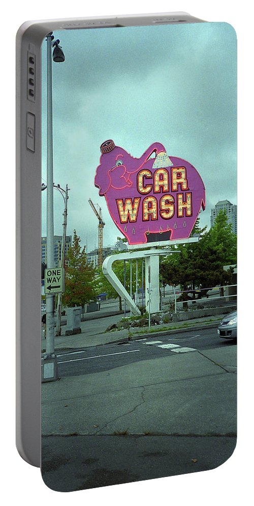 America Portable Battery Charger featuring the photograph Seattle - Elephant Car Wash 2 by Frank Romeo