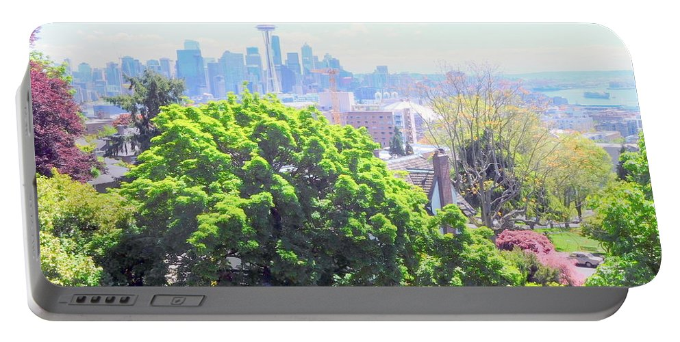 Landscape Portable Battery Charger featuring the photograph Seattle From A Hill by Maro Kentros