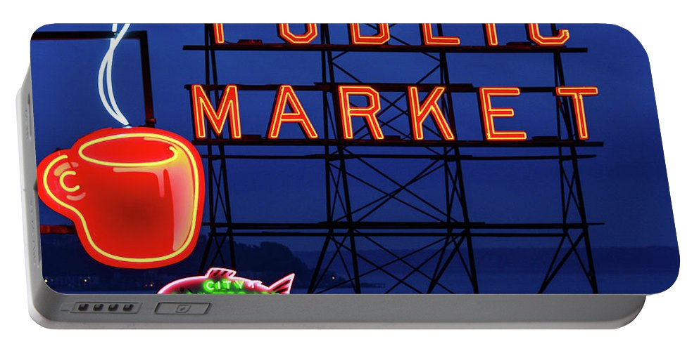 Neon Portable Battery Charger featuring the photograph Seattle Glow by Todd Klassy