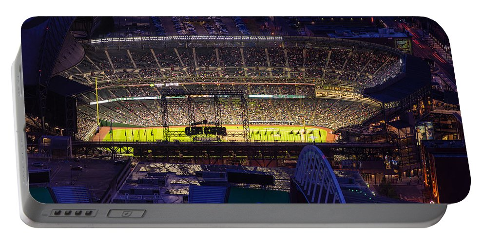 Mariners Portable Battery Charger featuring the photograph Seattle Mariners Safeco Field Night Game by Mike Reid
