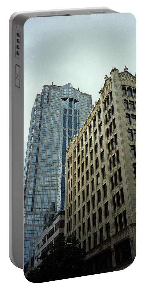 America Portable Battery Charger featuring the photograph Seattle - Misty Architecture 3 by Frank Romeo