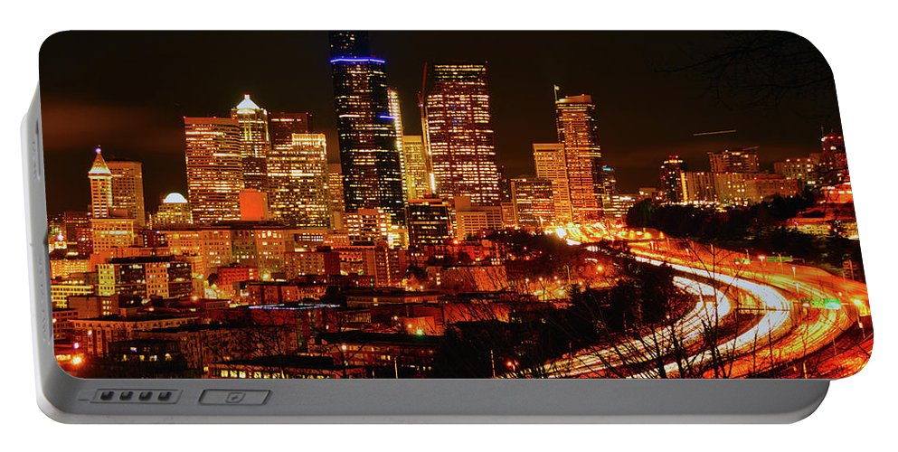 Seattle Portable Battery Charger featuring the photograph Seattle Night Traffic by Brian O'Kelly