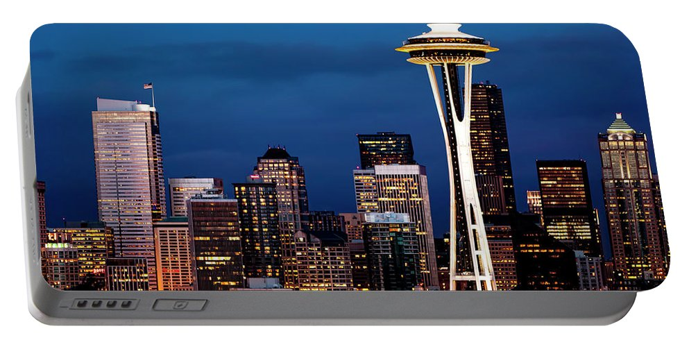 Seattle Portable Battery Charger featuring the photograph Seattle Skyline by Janet Fikar