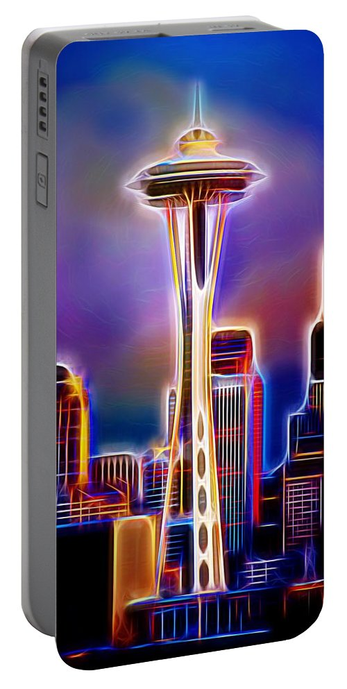 Seattle Space Needle Portable Battery Charger featuring the photograph Seattle Space Needle 1 by Aaron Berg