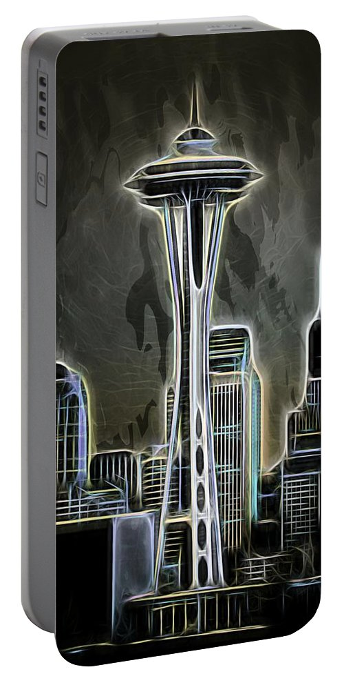 Seattle Space Needle Portable Battery Charger featuring the photograph Seattle Space Needle 2 by Aaron Berg