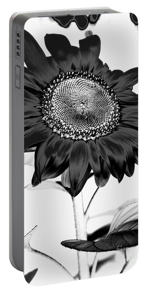 Black And White Photography Portable Battery Charger featuring the photograph Seattle Sunflower Bw Invert - Stronger by Heather Kirk