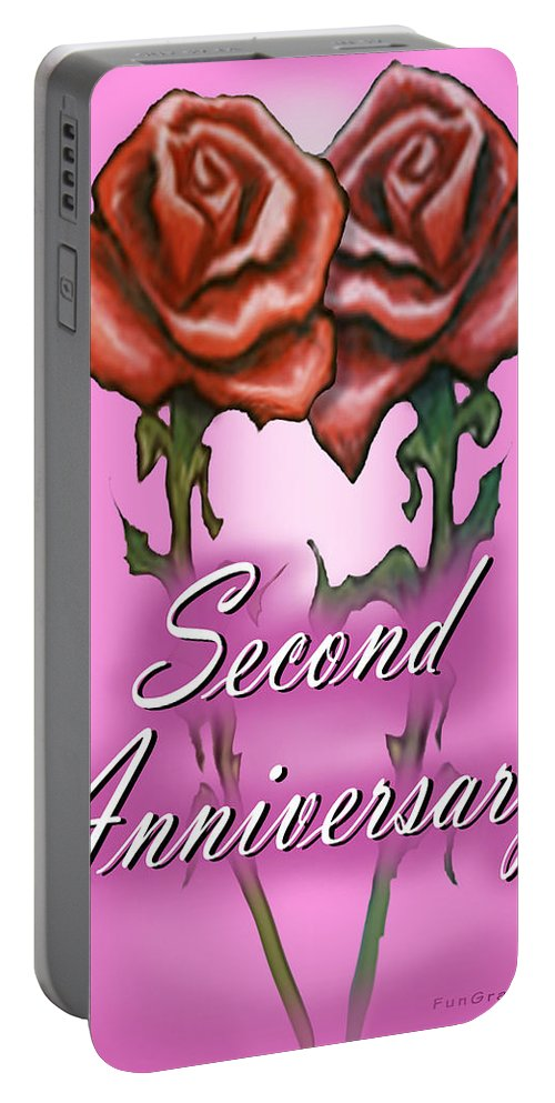 Second Portable Battery Charger featuring the greeting card Second Anniversary by Kevin Middleton
