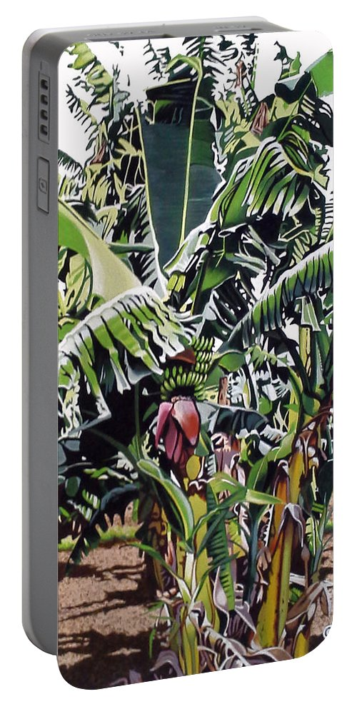 Green Portable Battery Charger featuring the painting Second Bananas by Joe Roselle