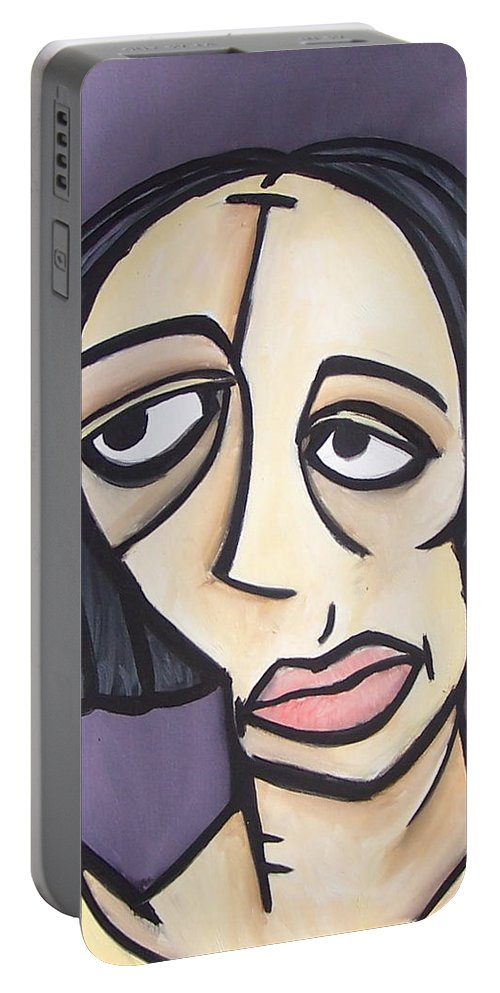 Nude Portable Battery Charger featuring the painting Second Vanessa by Thomas Valentine