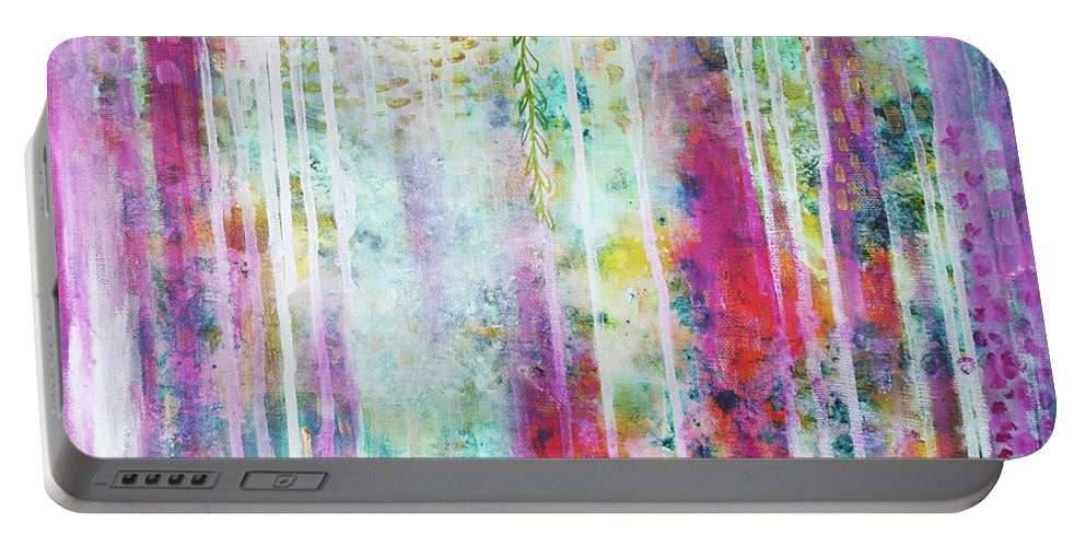 Secret Garden Portable Battery Charger featuring the painting Secret Garden by Louise Gale