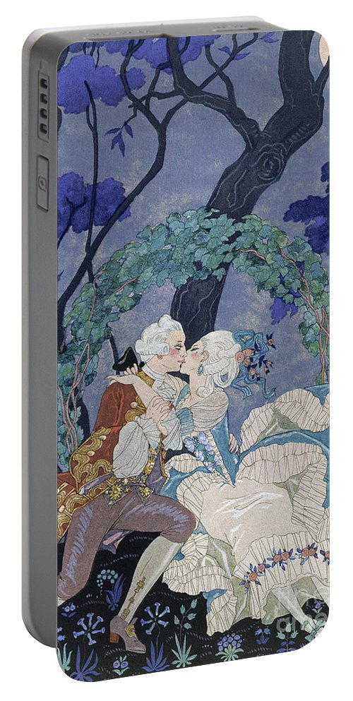 Secret Kiss Portable Battery Charger featuring the painting Secret Kiss by Georges Barbier