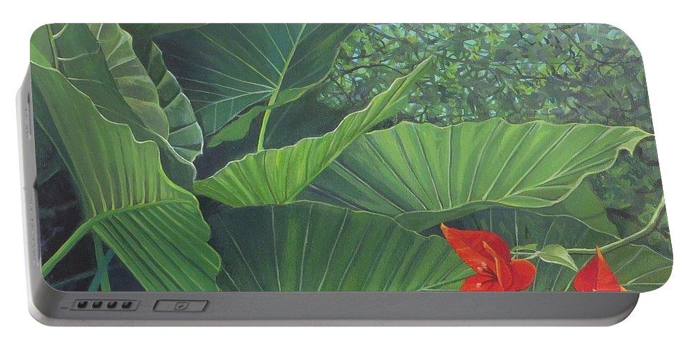 San Sebastian Portable Battery Charger featuring the painting Secret of San Sebastian by Hunter Jay