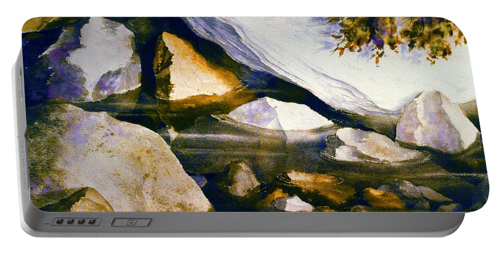 Rocks Portable Battery Charger featuring the painting Secret Places by Teresa Ascone