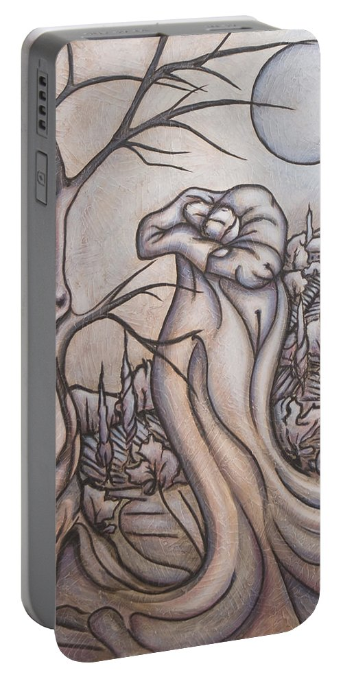 Dream. Moon Portable Battery Charger featuring the painting Secrets And Dreams by Judy Henninger
