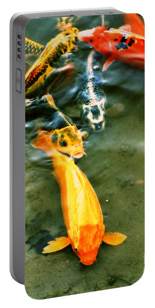 Koi Portable Battery Charger featuring the photograph Secrets Of The Wild Koi 11 by September Stone