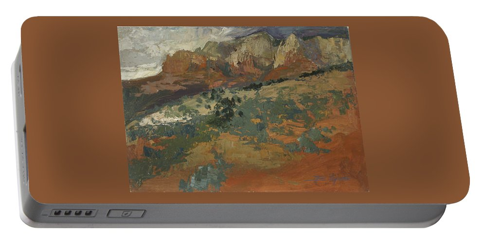 Sedona Landscape Portable Battery Charger featuring the painting Sedona Az Break In The Storm by Betty Jean Billups