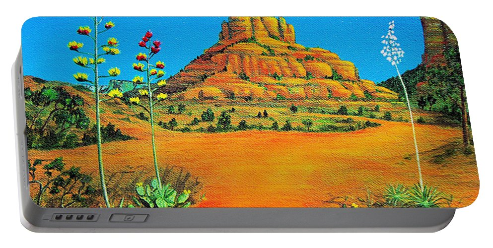 Sedona Portable Battery Charger featuring the painting Sedona Bell Rock by Jerome Stumphauzer