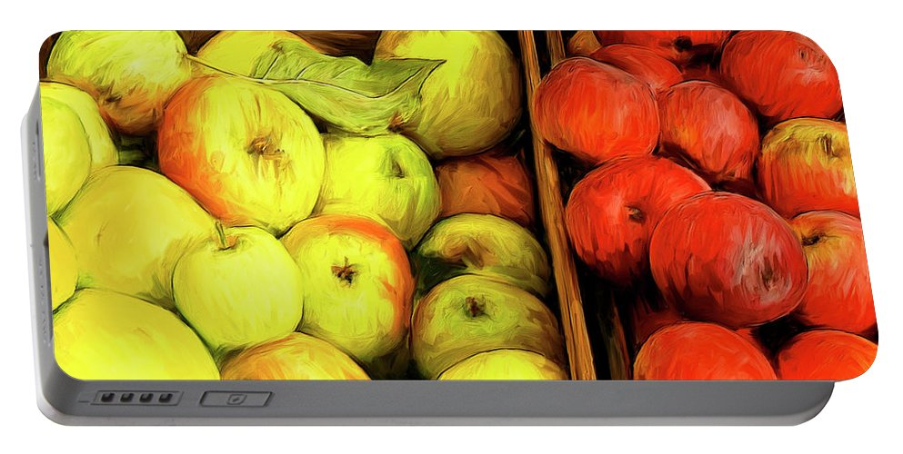 Apples Portable Battery Charger featuring the painting See Canyon Apples by Dominic Piperata