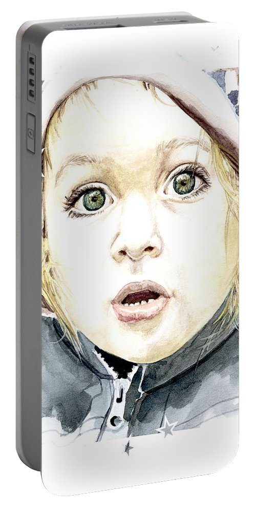 Baby Portable Battery Charger featuring the painting See The World Through My Eyes by Alban Dizdari
