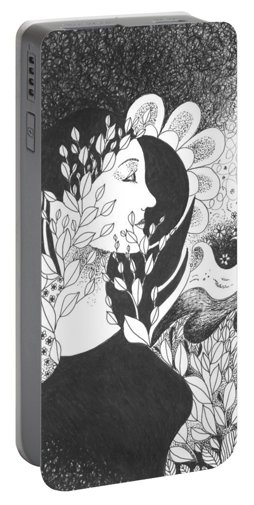 Vision Portable Battery Charger featuring the drawing Seeing Light by Helena Tiainen